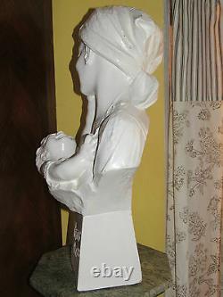 03c18 Statue 62cm Pltre Buste Woman Art Designed Citti Freres