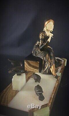 1925-30 Art Deco Sculpture Statue By Menneville Lady With Doves 53 CM 15kg