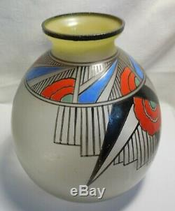 1930 Glass Vase Enamel Art Deco Designs Geometrical Sign Joma