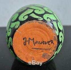 1930s Art Deco Vase Signed Maucuer Black Background