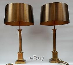 1950/70 Maison Charles Pair Of Brass Lamps Signed Coryntian Columns