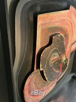 1970 Jean-claude Lethiais Painting Art-deco Modernist Abstraction Form-free