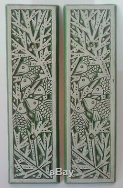 2 Ceramic Plates Mougin Nancy Fish Art Deco 1930 (unsigned)