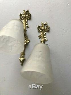 2 Wall Art Deco Lamp 1930 Tulip Sign Muller Degue Maynadier Luster Daum