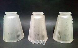 3 Tulip Sign Muller Luneville Glass Depoli Art Deco For Lustre Apply