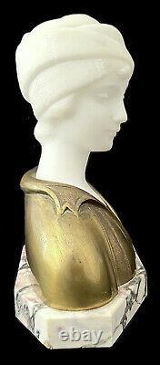 A. Trefoloni Bust In Carrara Marble And Bronze Golden Boy Art Deco