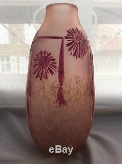 Acid-enamelled Floral Glass Paste Vase Signed Legras Art Deco