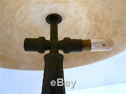 Albert Cheuret Lamp Art Deco Bonze Green Patina Alabaster Twentieth 20th Signed