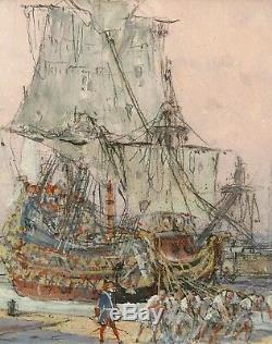 Albert Sebille Drawing Gouache Painting Marine Painter Harbor Dunkirk Boat Sailing