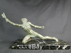 Alexander Ouline Unusual Art Deco Bronze Victory On Its Marble Base