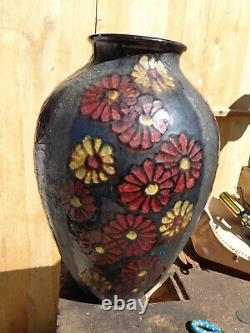Ancien Grand Vase Art Deco Flowers Simonod Ceramics Glazed Savoie Signed Sispa