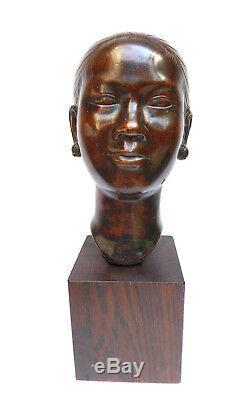Ancient Bronze Indochinese Woman Art Deco School Of Fine Arts C. 1910-1930