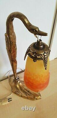 Ancient Lamp Of A Golden Bronze Bird And Glass Pate Muller Signed C Ranc