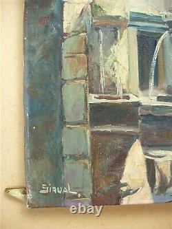 Ancient Oil On Canvas Signed Sirval Fountain Of Peyra In Vence
