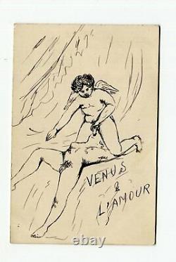 Ancient Original Drawing Signed Venus And Love Ink, Erotica