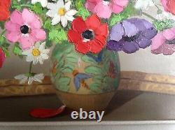 Ancient Painting 20th Century Italy Flowers Vase Art Deco Oil Canvas Signed Primo Dolzan