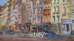 Ancient Painting Oil /gouache On Paper By Marco Behar. Avenue De Paris Xxème
