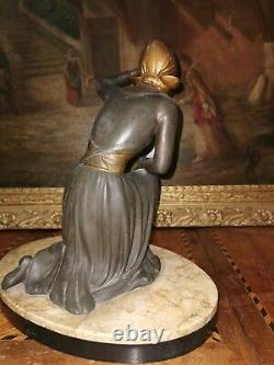 Ancient Statue Regulates Art Deco Signed On Marble From. Uriano