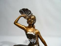 Ancient Statue Woman A The Eventail Signee Balleste Regule And Marble Art Deco