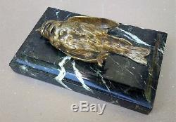 Animal Bird Bronze Signed Comolera Susse Brothers On Marble Art Deco 19th