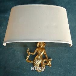 Applique 2 Lights Bronze Signed Guillemard Representation Of A Mermaid Art Deco