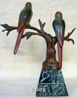 Art Deco Animal Bronze By J. Brault. Two Trendy Parakeets