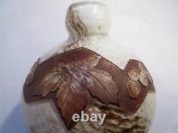 Art Deco Ball Vase Signed Legras, Clear Acid-decorated Glass Paste Vigne