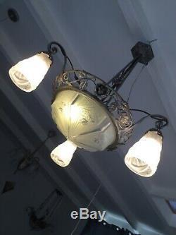 Art Deco Chandelier Lamp 1930 Tulip Signed Degue No Muller Daum