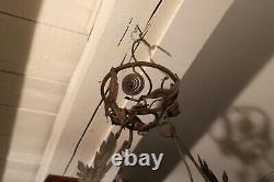 Art Deco Chandelier Wrought Iron Frame Vasque And Tulip Glass Paste By Delatte