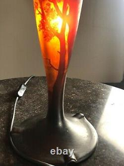 Art Deco Era Glass Paste Lamp, Muller And Brothers Ht 54 CM