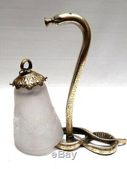 Art Deco Gilt Bronze Tulip Signed Muller Freres Luneville Lamp