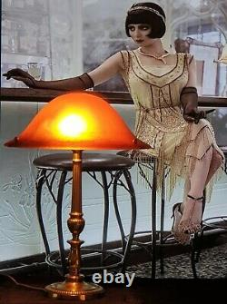 Art Deco Lamp Art New Moulded Glass Signed Vianne (bronze Or Brass)