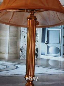 Art Deco Lamp Art Nouveau Moulé Glass Signed Degué (bronze Or Brass)
