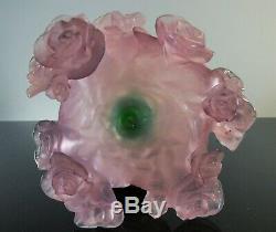Art Deco / Large Vase Pte Glass 22cm Color Modeled Roses Daum Sign