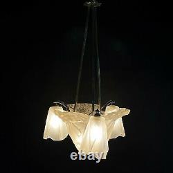 Art Deco Lustre Suspension Lamp Signed Degué Ceiling Lamp