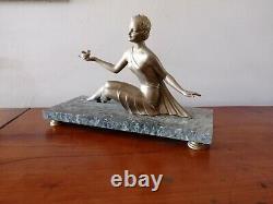 Art Deco Sculpture By Balleste Regulates Golden Patina Golden Statue Woman