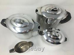 Art Deco Service Silver Metal Signed Ercui Tea Coffee Milk Sugar Silver Plated Chr