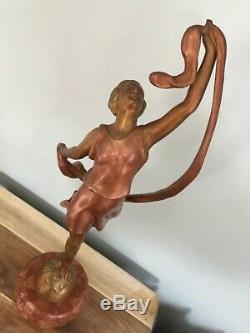 Art Deco Statue Woman Dancer With Scarf Signed P. Sega France Marble Pedestal