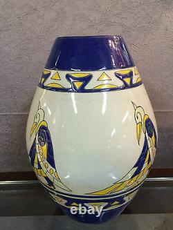 Art Deco Style Enamelled Ceramic Vase With Bird Decorations (signed. Numbered)