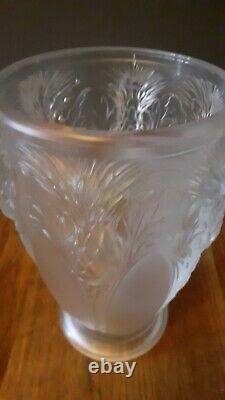 Art Deco Vase 1930 Decoration Of Chardons Moulded Glass By Verlys France