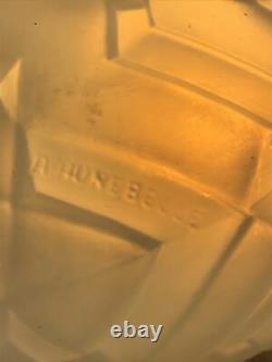 Art Deco Vase Model Chevrons Signed André Hunebelle France Rare Opalescent