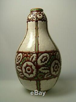 Art Deco Vase Signed Charles Catteau, Brothers Boch La Louviere D. 983 Keramis