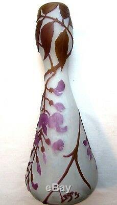 Art Deco Vase Signed Legras, Glass Paste Decorated With Acid Decor Glycine
