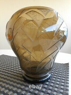 Art Deco Vase With Acid Signed Daum Nancy France