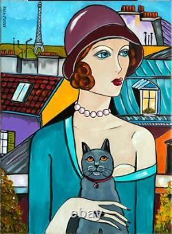 Art Painting Deco Kris Milvy La Dame Au Chapeau Paris Cat 54x73 CM Cote Drouot