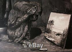 Auguste Paul Jouve Animal Drawing Table Symbolist Art Deco Monkey Montmartre