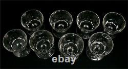 Baccarat, Art Deco, 8 Water Glasses, 8.5 Cm, Signed, Intact, Cut Crystal