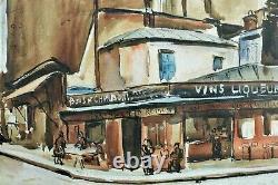 Beau Tableau Former Rue Mouffetard Paris 5th Animated Art Deco Cesar Bron Vlaminck