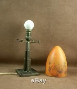 Beautiful Art Deco Lamp In Iron Forge Obus Pate Glass Sign Mulaty Lyon