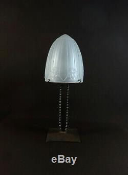 Beautiful Art Deco Lamp Time, Wrought Iron, Glass Dome Signed Sonover Dlg Muller